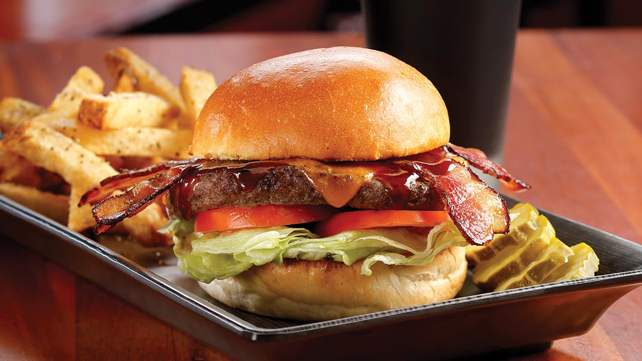 picture of barbeque bacon cheddar burger