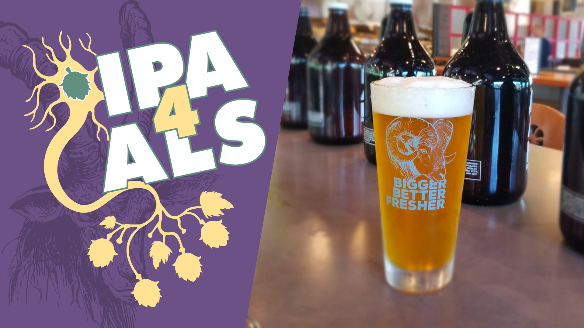 picture of pint of beer and IPA 4 ALS logo